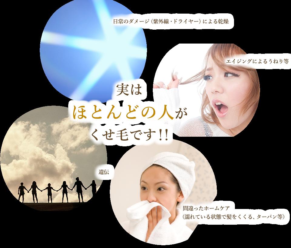 原因は、日常のダメージ(紫外線・ドライヤー)による乾燥、エイジングによるうねり等、遺伝、間違ったホームケア(濡れている状態で髪をくくる・ターバン等)など。